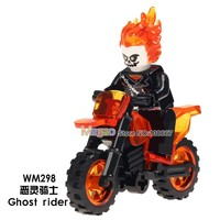 Single Super Heroes Ghost Rider With Motorcycle Model Action Legoing figures Kids Toys Hobbies Legoing friends Building Blocks