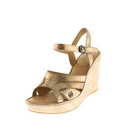 Born Womens Pascha Leather Open Toe Wedges