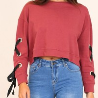 Red Lace Up Detail Long Sleeve Sweatshirt