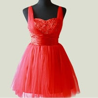 Ball gown Spaghetti Straps Sleeveless Short/Mini Tulle Fashion Prom Dresses/Wedding Dress/Cocktail Dress With Beading Free Shipping