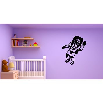 Wall Decal Astronaut Greeting Universe Flying Space Vinyl Sticker (ed1347)