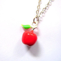 red apple with leaf necklace