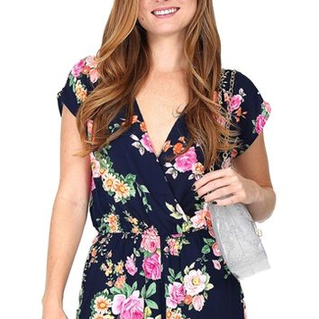 Navy Blue Floral Romper at Blush Boutique Miami - ShopBlush.com
