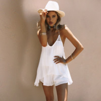 Sexy hollow out grid splicing backless condole belt dress