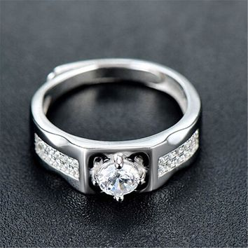 fashion mens womens unique silver adjustment ring with diamond casual jewelry best gift rings 70 2