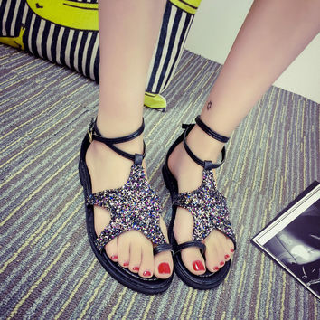 a73e43ee4a6770 Black Bling Bling Starfish Summer Beach Slippers Stylish Sandals