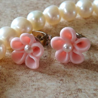 Flower Pink Cartilage Earring Body Jewelry Earring Post With Back