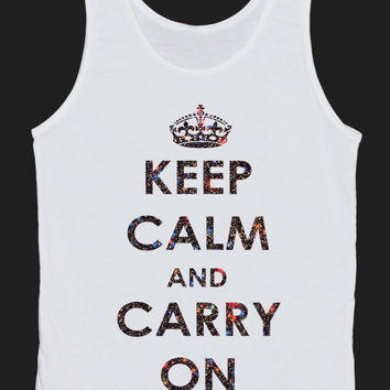 Keep Calm And Carry On Galaxy Space Universe Tank Top Women Tops White Tee Shirt Text Tank Tops Size XS, S, M, L