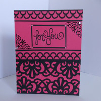 Thoughts of You! - Hot Pink and Black Lace Handmade Greeting Card  For Her - Birthday - Just Becuase - Miss You - Anniversary - Inside blank