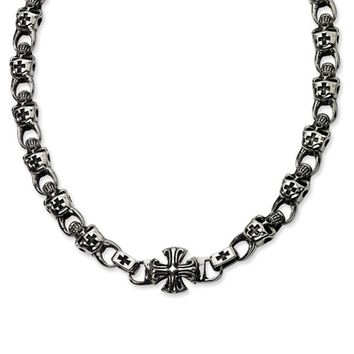 Men's Stainless Steel Skull and Cross Necklace