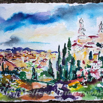 Siena Italy Tuscan Landscape Watercolor on Handmade Paper