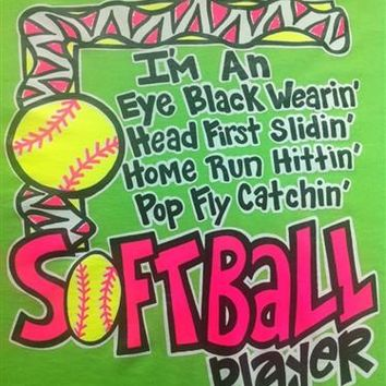 SALE Southern Chics Funny Black Eye Wearin Softball Sweet Girlie Bright Shirt