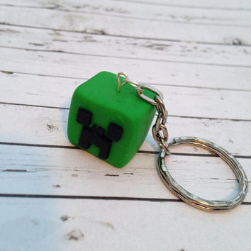 Minecraft Creeper Head keychain made from polymer clay