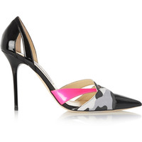Jimmy Choo - Marcine printed suede-trimmed patent-leather pumps