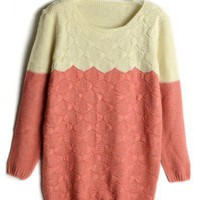 Round Neck Pink long sleeve wool pullover  Patchwork  Pop  style zz91800202 in  Indressme