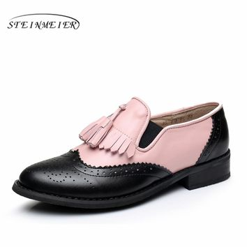 Women Genuine leather flats tassel oxford shoes pink black vintage round toe handmade flats oxfords shoes for women fur