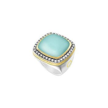 Aqua Chalcedony and Diamond Rope Ring : 14K White Gold - 10.50 CT TGW
