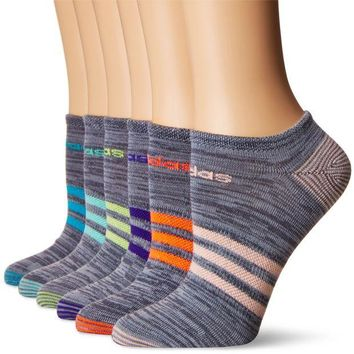 LMFN3C adidas Women's Superlite 6-Pack No Show Socks, Onix Clear Onix Space/Easy Green/Energy Ink Blue/Lucid Red/Frozen Yellow/Energy Blue/Haze Coral,Women's Sock size (5-10)