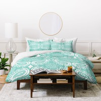 Heather Dutton Plush Paisley SeaSpray Duvet Cover