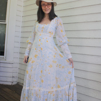 Gunne Sax Floral Dress Prairie Country White Western Full Length Vintage 70s XS