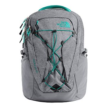 Women's Borealis Backpack in Zinc Grey Light Heather & Kokomo Green by The North Face