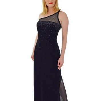 90s Beaded Black Stretch Velvet Body Con Gown-M