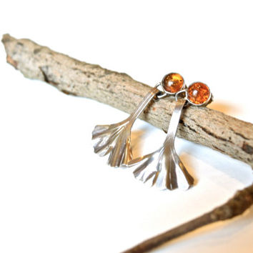 Ginkgo Leaf Earrings Handmade in Sterling Silver with Amber Studs- Art Nouveau Earrings