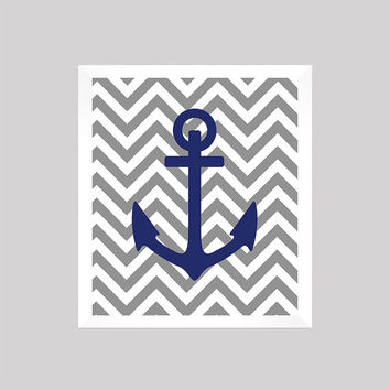 Nautical Nursery Decor, Baby Boy, Anchor, Gray and Navy, Art, CUSTOMIZE YOUR COLORS 8x10 Prints Nursery Decor Print Art Baby Room Decor Kids