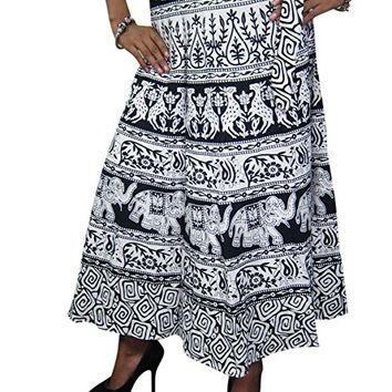 Mogul Wrap Skirt Elephants Print Beach Dress Holiday Boho Dress