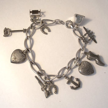Vintage Silver Charm Bracelet Puffy Hearts,Sterling Charm Bracelet Mechanical,Gun Charm,Airplane Charm,Sewing Machine Charm,Puffy Hearts