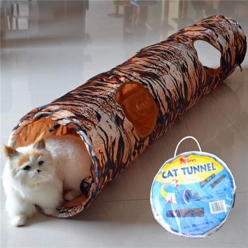 Pet Tunnel Cat Printed Leopard Tiger Lovely Kitten Tunnel Toy With Ball Play Fun Toy Tunnel Bulk Cat Toys Rabbit Play Tunnel