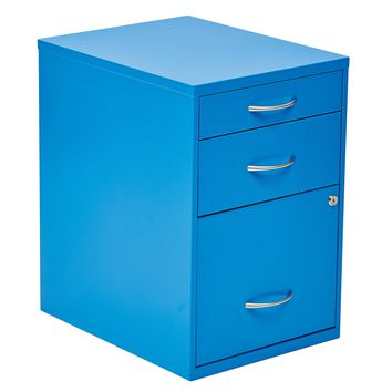 "Office Star Blue 22"" Pencil Box Storage File Cabinet"