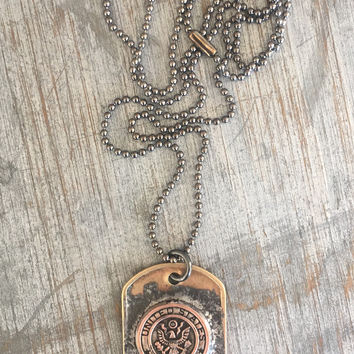 Army Military Dog Tag Necklace