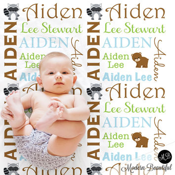 Woodland Name Blanket for Baby Boy, personalized baby gift, personalized photo prop blanket with bear and raccoon - choose your colors