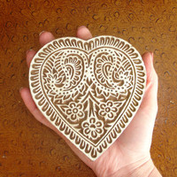 Large Valentine Heart Stamp: Hand Carved Indian Printing Block, Paisley and Flower Accents, Wood Block Stamp, Craft or Textile Stamp, India