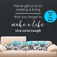 Make a Life Wall Decal Sticker Art Decor Bedroom Design Mural Kitchen Decal Modern Cheers Happy