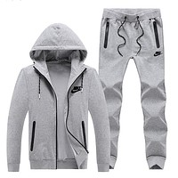 NIKE winter sports suit men's plus velvet long-sleeved hooded jacket warm casual two-piece suit Grey