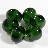 Shiny Transparent Sage Green Handmade Lampwork Glass Beads Glossy Bead