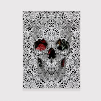 Skull Canvas Print, Lace Pattern Canvas Wall Art, Unique Black And White Lace Skull Canvas Home Decor