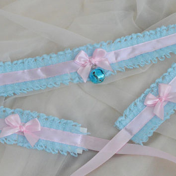 Ring of love set - Pastel blue and pink fairy kei princess choker with bell and wrist cuffs - lolita kitten pet play collar neko girl ddlg