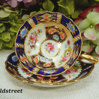Beautiful Vintage Hammersley England Porcelain Cup & Saucer ~ Cobalt ~ Gold Gilt