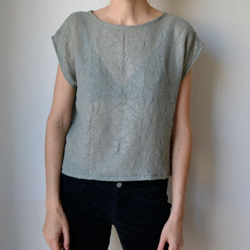 Seafoam green grey silk blouse t shirt top. Cap sleeves, boxy cut. Crinkle effect silk. Size M.