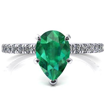 Sicili Pear Emerald 5 Prong 3/4 Micro Pave Diamond Engagement Ring
