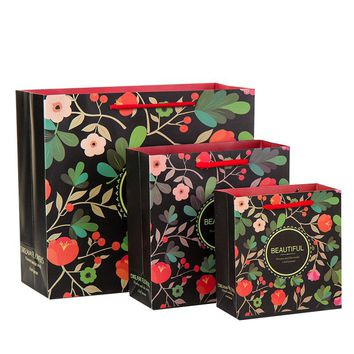 5PCS Beautiful romantic Flower Gift paper bag packaging shopping wedding birthday Mother's day Carrier bag candy party favor