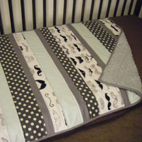 Small Little man mustache baby boy quilt - mint gray charcoal baby blanket - boy mustache minky blanket - modern baby boy strip quilt