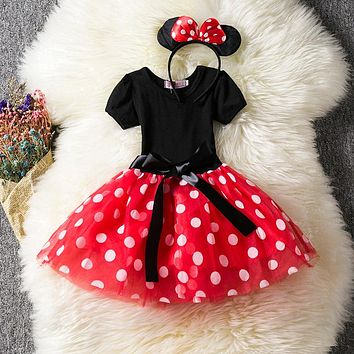 Newborn Baby Girl Fancy Tutu Dots Dress 1 Year Birthday Outfit Little Girl Clothes Infant Dress Girl Party Wear Vestido Batizado