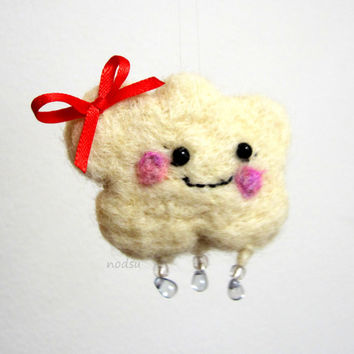 Happy little rain cloud brooch, kawaii style, pink cheeks and glass raindrops, fiber brooch by nodsu