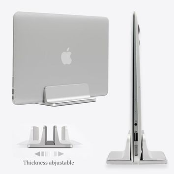 Aluminum Vertical Laptop Stand Thickness Adjustable Desktop NoteBooks Holder Erected Space-saving Stand for MacBook Pro / Air