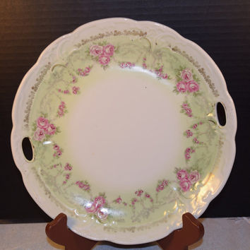 Porcelain Handled Floral Plate Tray Vintage Soft Green Border Pink Roses Gilding Shabby Chic Cottage Chic Decorative Plate Wedding Decor