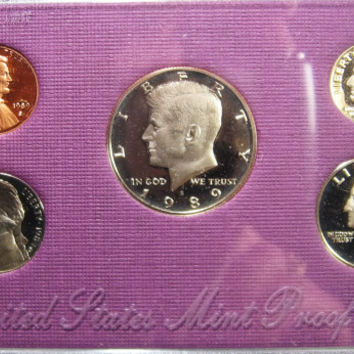 US Proof Set, 1989 UNC Proof Coin Set, Washington Quarter Coin, Kennedy Half Dollar Coin, 5 Coin Set, Uncirculated Coin Set, US Mint Coins